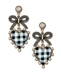 Black and White Gingham Heart Drop Earrings, Betsey Johnson