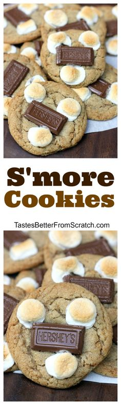 S'more Cookies on TastesBetterFromScratch.com- A soft and chewy graham cracker cookie with marshmallows and chocolate on top.