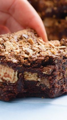 These slutty brownies are the most over-the-top dessert you'll ever try. They have a soft and chewy chocolate chip cookie base, a layer of Oreo cookies, and fudgy brownie on top! This recipe is from scratch and definitely the best brownie recipe around. Kit Kat Brownies, Banana Recipes, Brownie Recipes, Cake Recipes, Köstliche Desserts, Delicious Desserts, Yummy Food, Food Deserts, Health Desserts