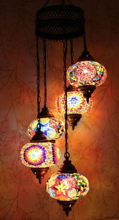 Multicolour Turkish Mosaic Hanging Lamp Light Hand Craft 5 Large Mosaic Globe