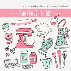 CLIP ART: Baking Set // Photoshop Brushes // Hand Drawn Elements // Kitchen Culinary Food Baker Conf Brand Identity Design, Logo Design, Branding Design, Corporate Branding, Kitchen Clipart, Cake Clipart, Drawing Frames, Personal Logo, Cooking Clipart