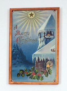 Embossed Merry Christmas Postcard Vintage 1910 H Wessler Hand Framed in Copper #Christmas