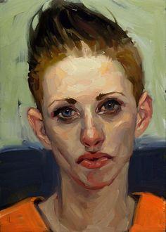 Artist: John Larriva, oil on hardboard {contemporary #impressionist art female head woman face portrait painting} larriva.blogspot.com
