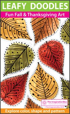 This fun Fall and Thanksgiving printable leaf doodle art activity for children is ideal for upper elementary teachers to use as a quick and easy art lesson plan in the classroom. Coloring pages, creative writing for grade grade grade 6 Thanksgiving Coloring Pages, Thanksgiving Art, Design Poster, Art Design, Design Ideas, Art Videos For Kids, Art For Kids, Kids Fun, Fantasy Warrior