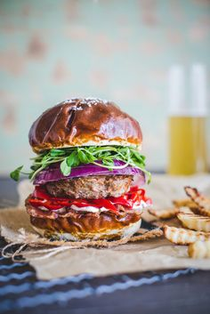 All about burgers: Spicy three meats burger with plum wine pickled turkish pepper & Quinoa Veggie Burger