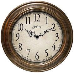 """Athenium 24"""" Round Antiqued Gold Framed Wall Clock -"""