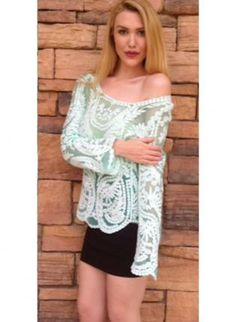 Mint & White Long Sleeve Mesh & Crochet Lace Top #ustrendy #boho Summer #lace