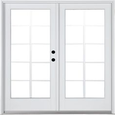MasterPiece in. x 79 in. Fiberglass White Left-Hand Outswing Hinged Patio Door 10 Lite Internal Grilles Between the Glass, Smooth White Interior And Exterior French Doors Bedroom, French Doors Patio, Patio Doors, French Patio, Master Bedroom, Exterior Doors, Interior And Exterior, Wood Doors, Door Design