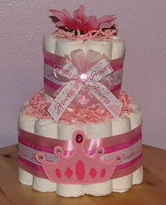 Baby Girl Diaper Cakes ♥ Baby Shower Ideas For Girls ♥