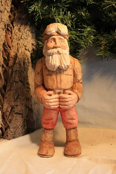 Hand carved Santa Vintage motorcycle Santa by WeAreOutofOurGourds, $95.00