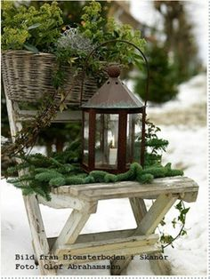 lantern and rustic chair