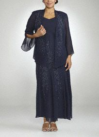 Elegant and stunning, be the one to watch in the 3/4 sleeve jacket dress!  Georgette long dress features beautiful all over beading.  Sheer 3/4 sleeve jacket provides just the right amount of coverage.  Fully lined. Imported polyester. Hand wash.
