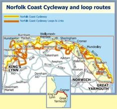 King's Lynn to Great Yarmouth with 10 marked 'Loop Routes' along the way.