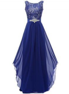 Floral Lace Paneled Asymmetric Prom Dress