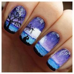 Beautiful nail colors, Colorful gel polish, Drawings on nails, July nails, Romantic nails, Shellac nails 2016, Summer nails 2016