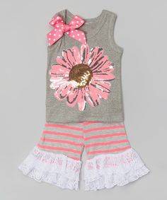 Look at this Pink Daisy Sequin Tank & Ruffle Shorts - Infant, Toddler & Girls on #zulily today!
