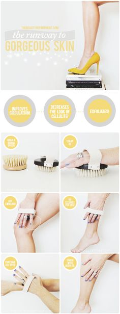 Dry Brush 101.......Dry Brushing helps to 1) improve circulation 2 ) decrease the look of cellulite and 3) exfoliate. Here are steps to gorgeous skin! ....kur <3