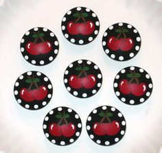 Hey, I found this really awesome Etsy listing at https://www.etsy.com/listing/216703095/red-cherries-on-black-knobs-1940s-retro