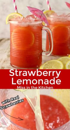 Strawberry Lemonade made with real strawberries for the most refreshing and delicious summer drink ever! A quick and easy recipe that you will be making for every cookout, celebration or pool party! Wendy's Strawberry Lemonade Recipe, Rum And Lemonade, Homemade Lemonade Recipes, Pineapple Lemonade, Frozen Lemonade, Best Lemonade Stand Recipe, Homemade Alcohol, Sprite Recipe, Fruit Smoothies