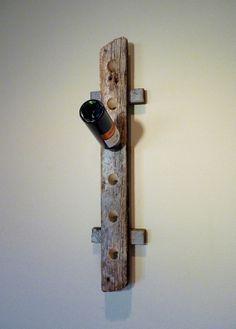 Rustic Barn Wood Wine Rack - Holds six bottles of wine.