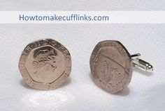 How to Make Cufflinks - UK 20 Pence Coin with Silver Bullet Back