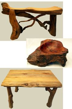 Rustic Furniture and Art by Jim -- Native wood handcrafted table, chair, bench, bowl candle holder items from Prescott, Arizona artist.