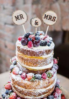 Mr Mrs Log Cake Topper Pretty Natural Floral Barn Wedding http://www.johastingsphotography.co.uk/