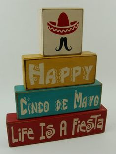 Ready To Ship Today!!! Happy Cinco De Mayo - Life Is A Fiesta - Primitive Country Distressed Wood Stacking Sign Blocks Seasonal Holiday Home Decor Fiesta Party Birthday Celebration