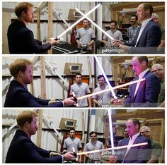 Princes Harry and William duelled with light sabres today at Pinewood Studios in Buckinghamshire on a visit to the set of Star Wars Baby Prince, Prince Harry, Let's Pray, Brotherly Love, Duke Of Cambridge, Harry And Meghan, Prince William, British Royals, Princess Diana