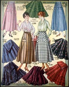 Petticoats & Skirts, Eaton's Spring & Summer Catalog, 1917 These could easily translate into today's fashion. Moda Vintage, Vintage Mode, Vintage Skirt, Vintage Ladies, Vintage Hats, Illustrations Vintage, Fashion Illustration Vintage, Illustration Mode, 1900s Fashion