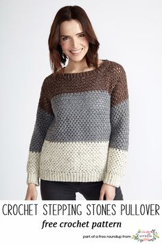 Crochet this stepping stones pullover sweater that looks knit from my crochet that looks knit free pattern roundup!