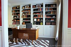 custom home office/ those shelves, that desk