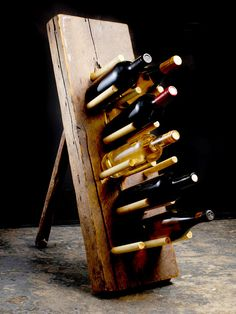 Innovative yet simple, this wine rack is made from reclaimed lumber and wooden dowels.