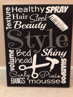 Custom Canvas Hair Products Salon Subway Art by ModernMomDecor