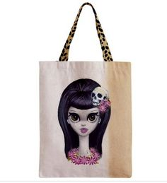 ALOHA tote bag. Big Eyed Lady with Skulls and by besmirched