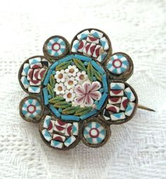 MICRO MOSAIC Brooch Pin Antique Old Vintage by jewelryannie, $19.99
