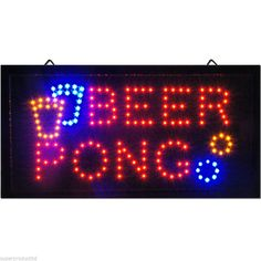Flashing Animated BEER PONG LED neon Party Sign store bar pub light game drink