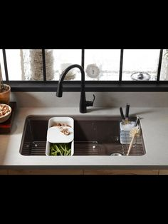 Interesting solution to space in a single bowl sink  Kitchen sink kohler  Rosaaen-Like this faucet