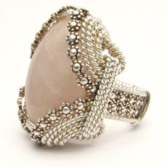 Handmade Sterling Silver Berry Wire Wrap Rose Quartz Ring, $250.00