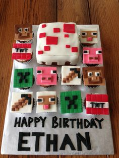 Minecraft cake and cupcakes by Luneta Criswell