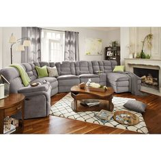 Big Softie 6-Piece Power Reclining Sectional with Chaise and 2 Reclining Seats | Value City Furniture Living Room Sectional, Living Room Seating, Home Living Room, Sectional Sofa, Living Room Designs, Living Room Furniture, Home Furniture, Living Room Decor, Couches