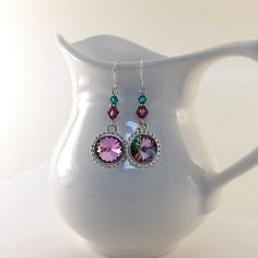 Earrings Swarovski Vitrail by CinLynnBoutique on Etsy, $20.00