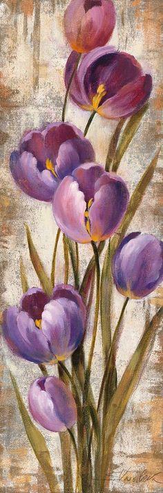 Silvia Vassileva Poster Print Wall Art Print entitled Royal Purple Tulips II Crop, None Abstract Flowers, Watercolor Flowers, Watercolor Art, Painting Abstract, Easy Flower Painting, Flower Art, Flower Paintings, Canvas Art Quotes, Purple Tulips