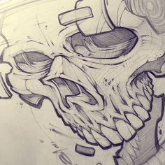 Scribble scribble! #art #sketch #pencil #illustration #biker #skull