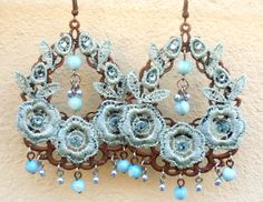 BIG EARRING ACQUAMARINE color flower rose copper di SissiHand