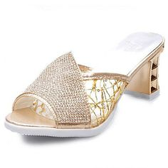 Women's Shoes Chunky Heel Peep Toe Sandals Casual Silver/Gold - CAD $ 37.52