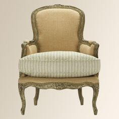 Charlotte chair - Arhaus ( loving the stripes & solid mix ) .