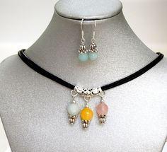 Natural Gemstone Amazonite Aragonite Rose Quartz Pendant Necklace Healing USA #Handmade #ClusterPendantNecklace
