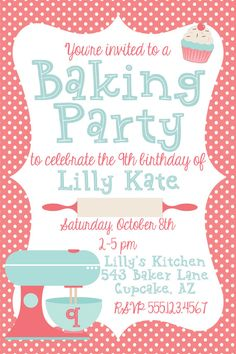 Kids cooking birthday invite cooking baking birthday baking baking birthday party invitation digital by reflectlovedesigns stopboris Choice Image