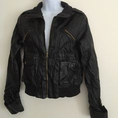 Ambiance M black wrinkle look jacket 99% polyester 1% spandex Ambiance Apparel Jackets & Coats